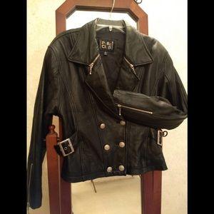 Vintage 'Pelle Club' Leather Moto Jacket